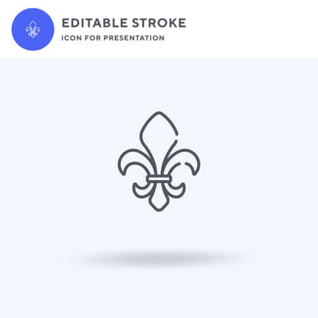 Fleur De Lis icon vector, filled flat sign, solid pictogram isolated on white, logo illustration. Fleur De Lis icon for presentation. Vectores