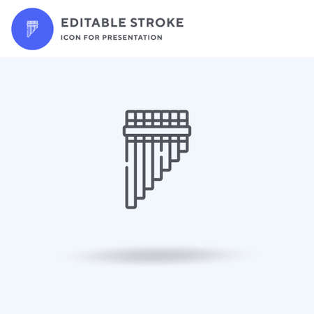 Pan Flute icon vector, filled flat sign, solid pictogram isolated on white,  illustration. Pan Flute icon for presentation.
