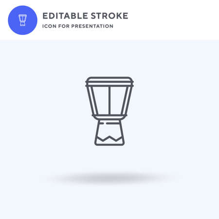 Djembe icon vector, filled flat sign, solid pictogram isolated on white,  illustration. Djembe icon for presentation. Vectores