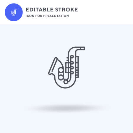 Saxophone icon vector, filled flat sign, solid pictogram isolated on white,  illustration. Saxophone icon for presentation.
