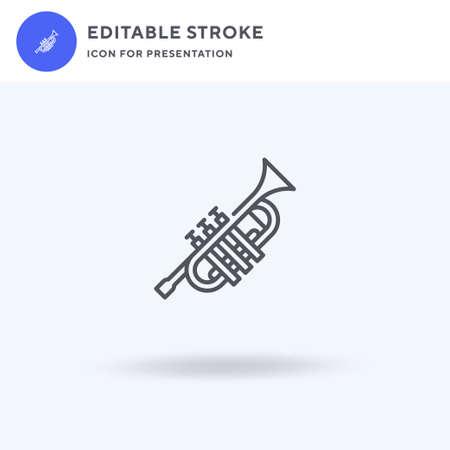 Trumpet icon vector, filled flat sign, solid pictogram isolated on white,  illustration. Trumpet icon for presentation.