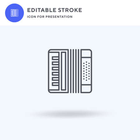 Accordion icon vector, filled flat sign, solid pictogram isolated on white,  illustration. Accordion icon for presentation. Vectores