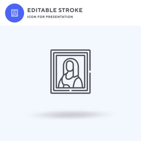 Mona Lisa icon vector, filled flat sign, solid pictogram isolated on white,  illustration. Mona Lisa icon for presentation.