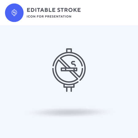 No Smoking icon vector, filled flat sign, solid pictogram isolated on white,  illustration. No Smoking icon for presentation. Vettoriali