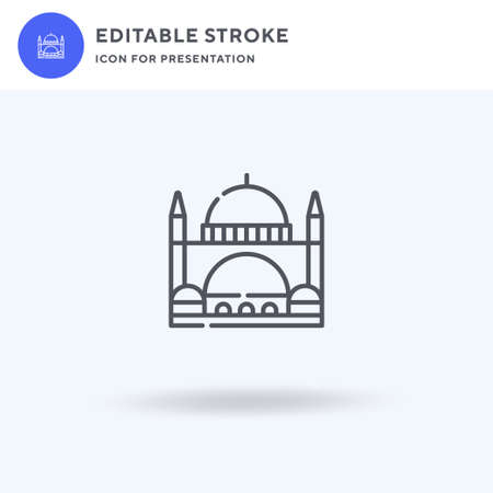 Mosque icon vector, filled flat sign, solid pictogram isolated on white,  illustration. Mosque icon for presentation.