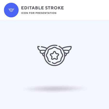 Badge icon vector, filled flat sign, solid pictogram isolated on white,  illustration. Badge icon for presentation. Vectores