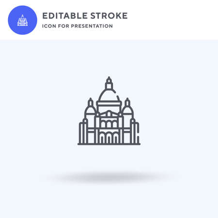 Sacre Coeur icon vector, filled flat sign, solid pictogram isolated on white,  illustration. Sacre Coeur icon for presentation. 矢量图像