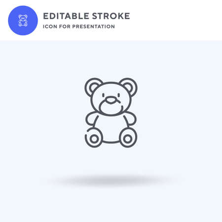 Teddy Bear icon vector, filled flat sign, solid pictogram isolated on white,  illustration. Teddy Bear icon for presentation. Vettoriali