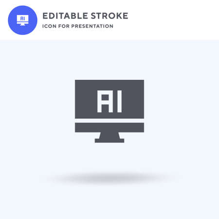 Ai icon vector, filled flat sign, solid pictogram isolated on white,  illustration. Ai icon for presentation. Illustration