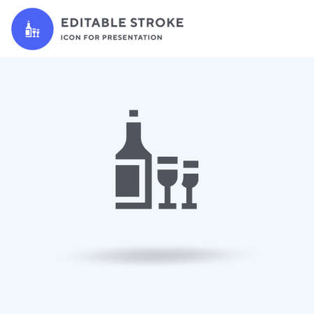 Wine icon vector, filled flat sign, solid pictogram isolated on white, logo illustration. Wine icon for presentation.