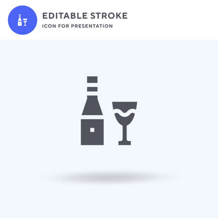 White Wine icon vector, filled flat sign, solid pictogram isolated on white, logo illustration. White Wine icon for presentation.