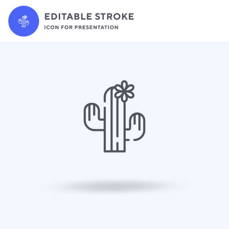Cactus icon vector, filled flat sign, solid pictogram isolated on white, logo illustration. Cactus icon for presentation. Ilustração