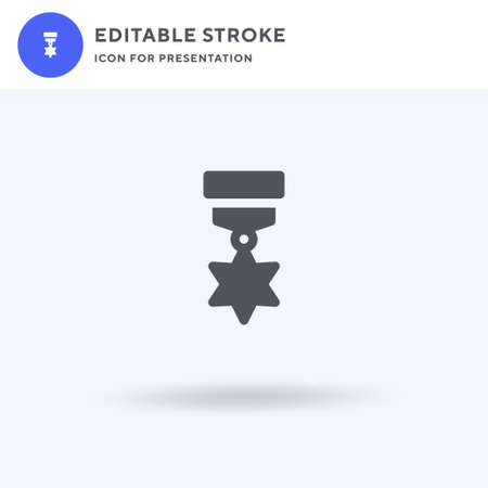 Medal icon vector, filled flat sign, solid pictogram isolated on white, logo illustration. Medal icon for presentation.