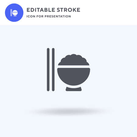 Rice Bowl icon vector, filled flat sign, solid pictogram isolated on white, logo illustration. Rice Bowl icon for presentation.