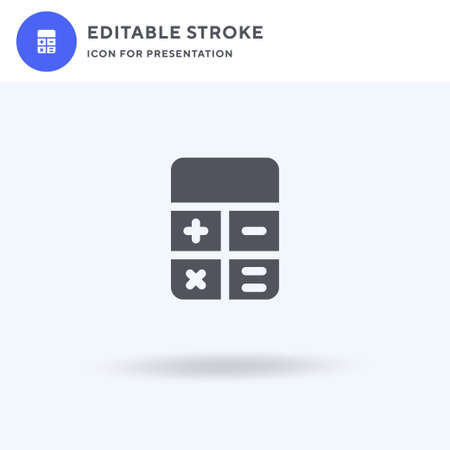 Calculator icon vector, filled flat sign, solid pictogram isolated on white, logo illustration. Calculator icon for presentation. 스톡 콘텐츠