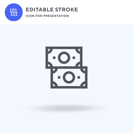 Money icon vector, filled flat sign, solid pictogram isolated on white, logo illustration. Money icon for presentation.