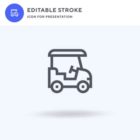 Golf Cart icon vector, filled flat sign, solid pictogram isolated on white, logo illustration. Golf Cart icon for presentation. Vectores