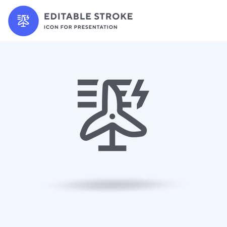 Eolic Energy icon vector, filled flat sign, solid pictogram isolated on white, logo illustration. Eolic Energy icon for presentation. Vettoriali