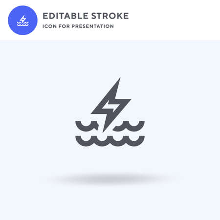 Hydro Power icon vector, filled flat sign, solid pictogram isolated on white, logo illustration. Hydro Power icon for presentation. Vettoriali