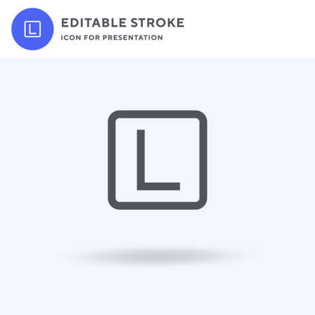 L Plate icon vector, filled flat sign, solid pictogram isolated on white, logo illustration. L Plate icon for presentation.