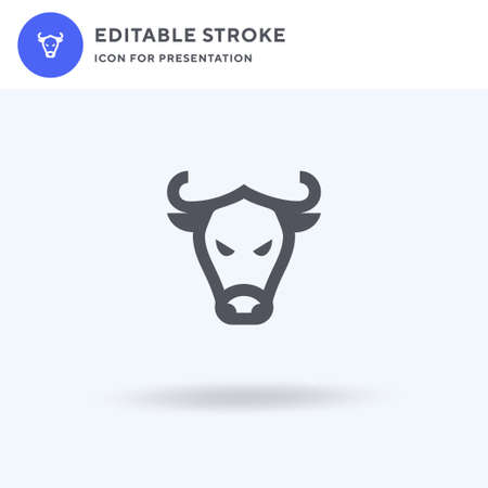 Bull icon vector, filled flat sign, solid pictogram isolated on white, logo illustration. Bull icon for presentation.