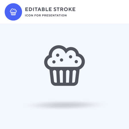 Muffin icon vector, filled flat sign, solid pictogram isolated on white, logo illustration. Muffin icon for presentation.