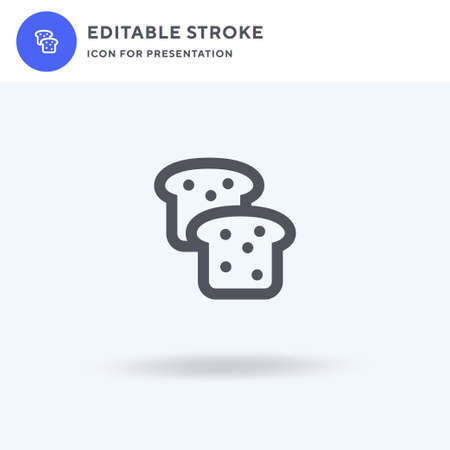 Bread icon vector, filled flat sign, solid pictogram isolated on white, logo illustration. Bread icon for presentation.