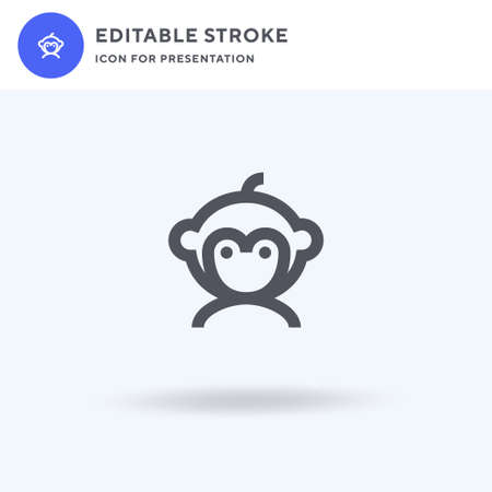Monkey icon vector, filled flat sign, solid pictogram isolated on white, logo illustration. Monkey icon for presentation.