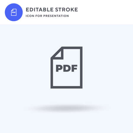Pdf icon vector, filled flat sign, solid pictogram isolated on white, logo illustration. Pdf icon for presentation.