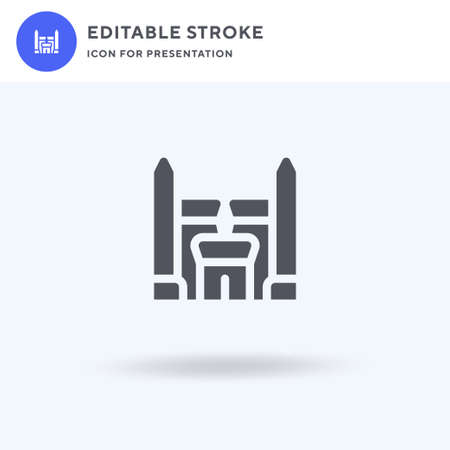 Temple icon vector, filled flat sign, solid pictogram isolated on white, logo illustration. Temple icon for presentation.