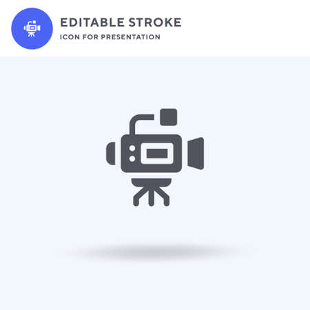Videocamera icon vector, filled flat sign, solid pictogram isolated on white, logo illustration. Videocamera icon for presentation.