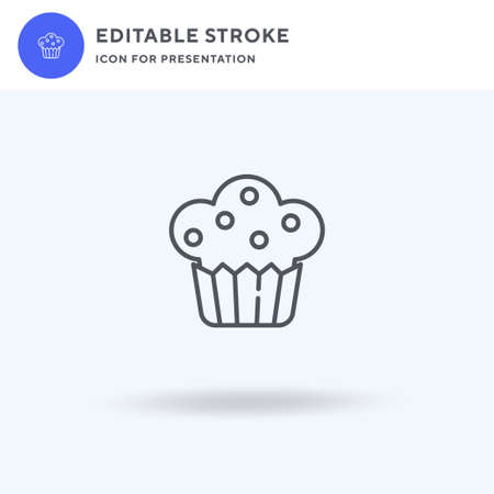 Muffin icon vector, filled flat sign, solid pictogram isolated on white,  illustration. Muffin icon for presentation. 向量圖像