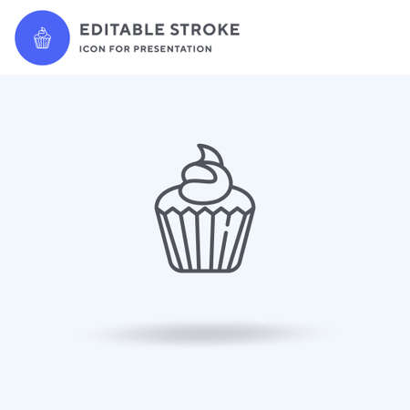 Cupcake icon vector, filled flat sign, solid pictogram isolated on white,  illustration. Cupcake icon for presentation.