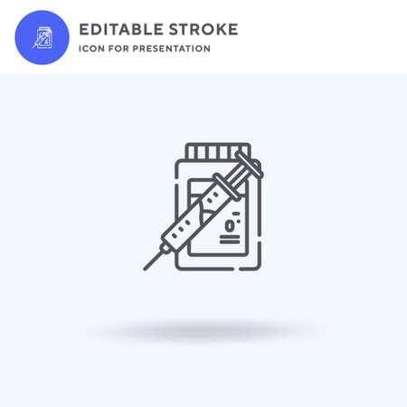 Syringe icon vector, filled flat sign, solid pictogram isolated on white,  illustration. Syringe icon for presentation. Illustration