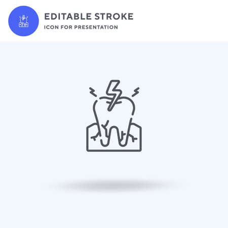 Toothache icon vector, filled flat sign, solid pictogram isolated on white,  illustration. Toothache icon for presentation.