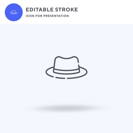 Fedora Hat icon vector, filled flat sign, solid pictogram isolated on white,  illustration. Fedora Hat icon for presentation.