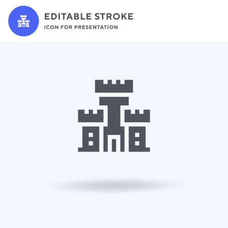 Fortress icon vector, filled flat sign, solid pictogram isolated on white, logo illustration. Fortress icon for presentation. Illusztráció