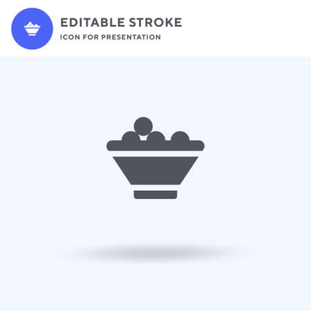 Fruit Bowl icon vector, filled flat sign, solid pictogram isolated on white,  illustration. Fruit Bowl icon for presentation.