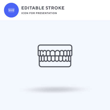 Dentures icon vector, filled flat sign, solid pictogram isolated on white,  illustration. Dentures icon for presentation. Vettoriali