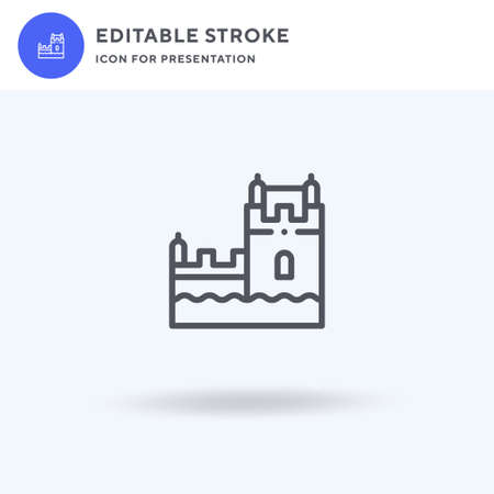 Belem Tower icon, filled flat sign, solid pictogram isolated on white, illustration. Belem Tower icon for presentation. 矢量图像