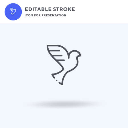 Dove icon vector, filled flat sign, solid pictogram isolated on white, logo illustration. Dove icon for presentation. Vettoriali