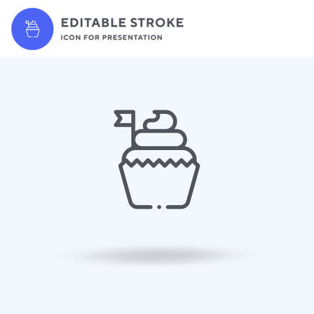 Cupcake icon vector, filled flat sign, solid pictogram isolated on white, logo illustration. Cupcake icon for presentation.