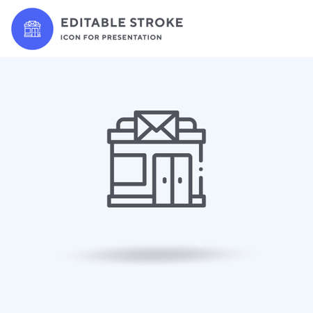 Post Office icon vector, filled flat sign, solid pictogram isolated on white, logo illustration. Post Office icon for presentation.