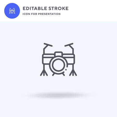 Drum Set icon vector, filled flat sign, solid pictogram isolated on white, logo illustration. Drum Set icon for presentation.  イラスト・ベクター素材