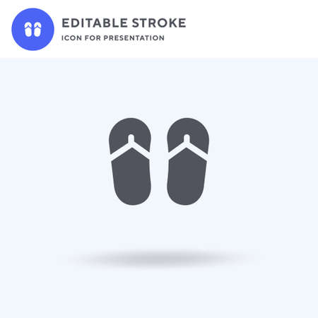 Flip Flops icon vector, filled flat sign, solid pictogram isolated on white, logo illustration. Flip Flops icon for presentation. Vectores