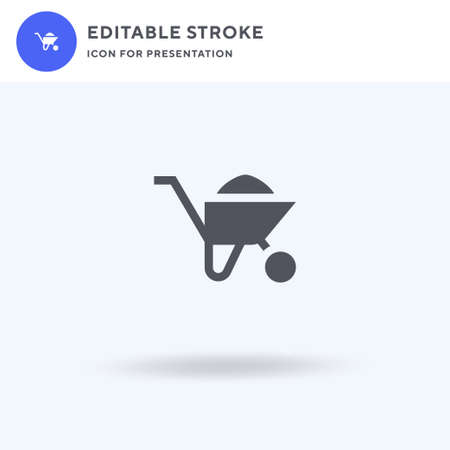 Wheel Barrow icon vector, filled flat sign, solid pictogram isolated on white, logo illustration. Wheel Barrow icon for presentation.