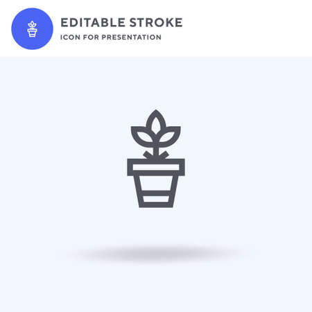 Plant Pot icon vector, filled flat sign, solid pictogram isolated on white, logo illustration. Plant Pot icon for presentation.