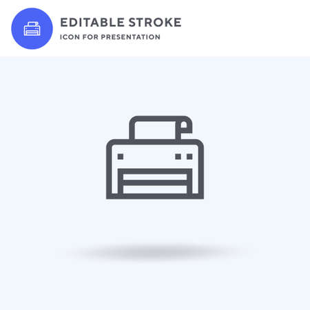 Printer icon vector, filled flat sign, solid pictogram isolated on white, logo illustration. Printer icon for presentation.