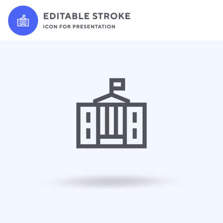 White House icon vector, filled flat sign, solid pictogram isolated on white, logo illustration. White House icon for presentation. Illustration