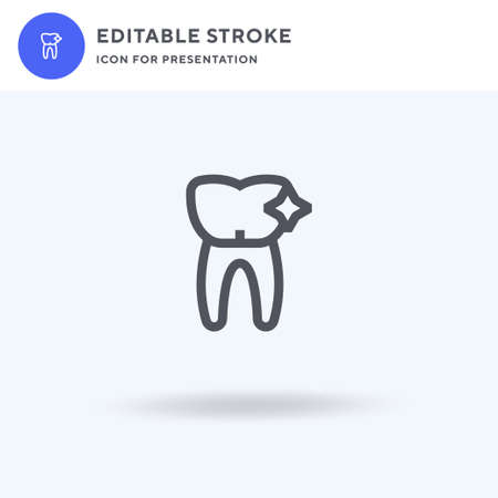 Tooth icon vector, filled flat sign, solid pictogram isolated on white, logo illustration. Tooth icon for presentation. Ilustração